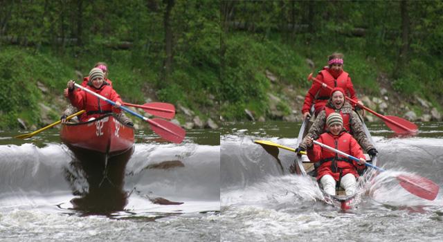 Allmählich ahnt die Kanu-Besatzung, dass das kommende Ereignis nicht nur naß...
